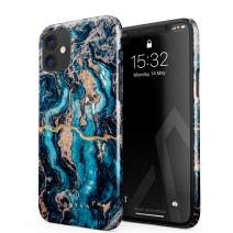 BURGA Phone Case Compatible with iPhone 11 - Crystal Blue Teal Turqoise Marble Cute Case for Girls Thin Design Durable Hard Plastic Protective Case