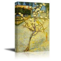 "wall26 - Small Pear Tree in Blossom by Vincent Van Gogh - Canvas Print Wall Art Famous Oil Painting Reproduction - 12"" x 18"""
