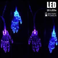 AOSTAR Halloween Light Decorations, Hallooween Skull Hand Fairy Lights, Battery Operated String Light with 20 LEDs for Halloween Indoor/Outdoor Decor (Blue/Purple)