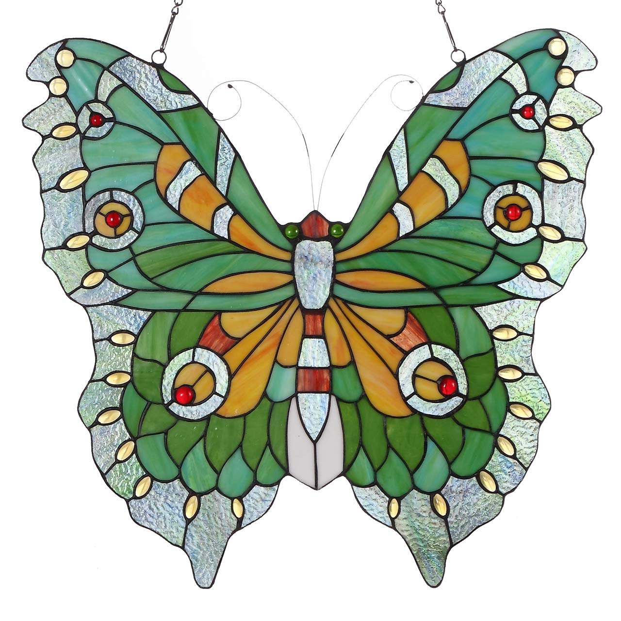 """Bieye W10026 Swallowtail Mariposa Butterfly Tiffany Style Stained Glass Window Panel Hangings with Chain, 22"""" W x 20"""" H (Green)"""