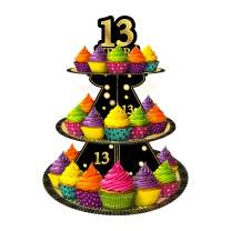 Happy 13th Birthday 3 Tier Cardboard Cupcake Stand / Tower Round Tiered Serving Platter Birthday Decorations Cheers To Sweet 13 Birthday Party