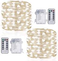 TingMiao Fairy Lights Battery Operated 2 Pack 33 ft 100 LED 8 Modes String Lights with Remote Control Timer Silver Wire String Lights for Bedroom Indoor Cool White