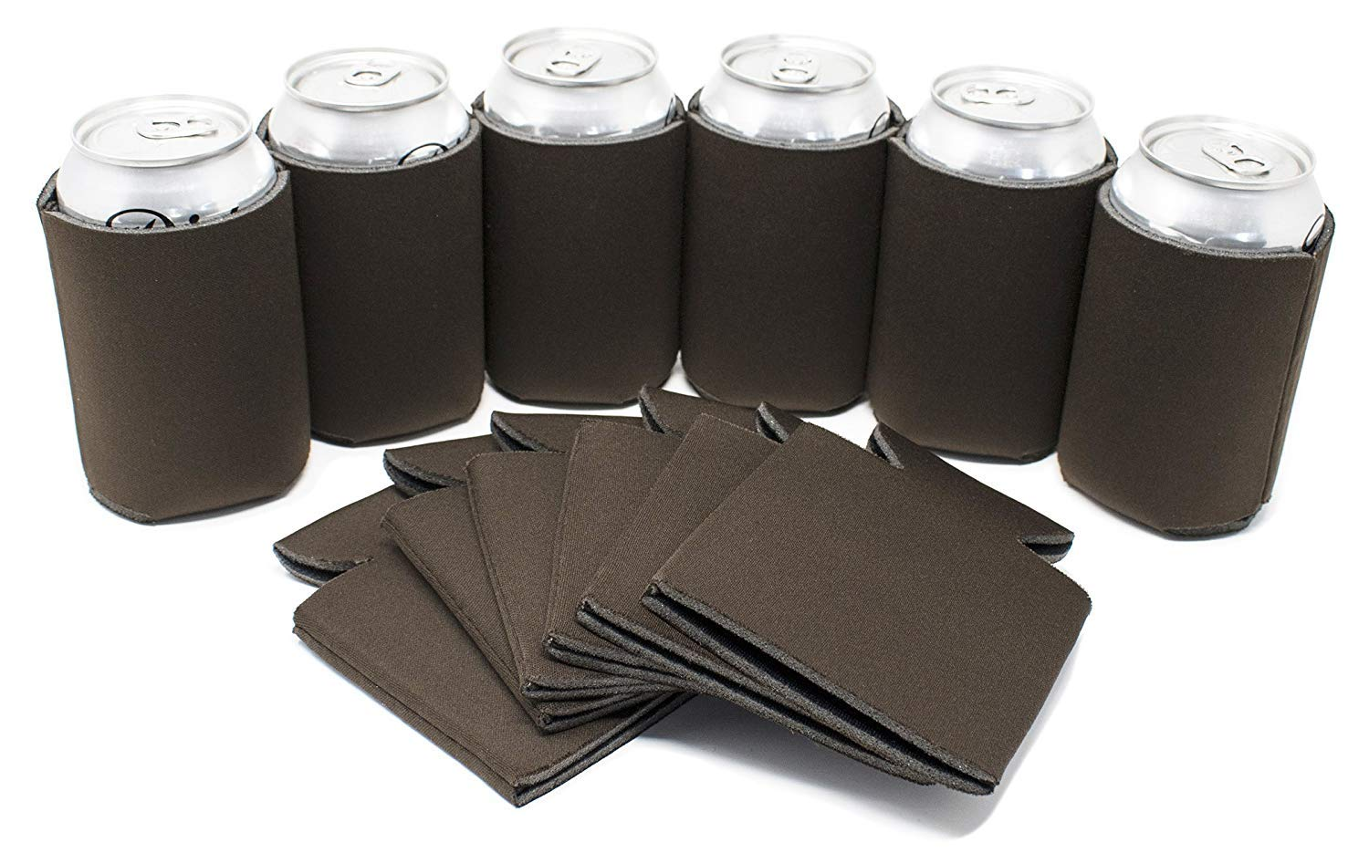 TahoeBay 12 Blank Beer Can Coolers, Plain Bulk Collapsible Soda Cover Coolies, DIY Personalized Sublimation Sleeves for Weddings, Bachelorette Parties, Funny HTV Party Favors (Chocolate Brown, 12)