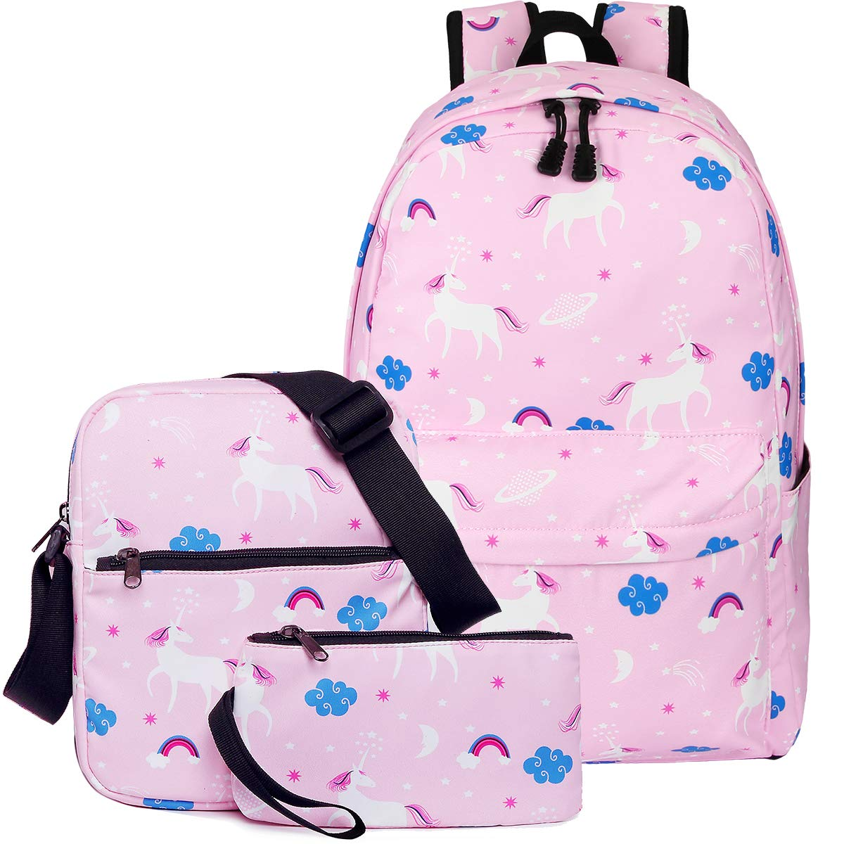 Unicorn Bookbag for Teen Girls, Dreampark School Backpack for Boys and Girls Laptop Bag with Shoulder Bags and Pen Case (Pink)