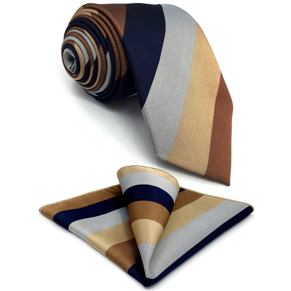 S&W SHLAX&WING New Ties for Men Striped Blue Brown Necktie for Suit Jacket Business