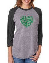 Irish Green Clovers Heart St. Patrick's 3/4 Women Sleeve Baseball Jersey Shirt