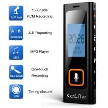 KerLiTar K-R03 Digital Voice Recorder for Lectures Sound Activated Recorder Dictaphone MP3 Player Recording Device for Meetings/Interviews USB Rechaegeable(Black)