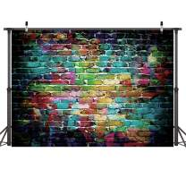 Dudaacvt Graffiti Photography Backdrop,7x5ft Colorful Brick Wall Photography Backdrop for Bridal Shower Baby Birthday Party Banner Photo Props Q001-0705