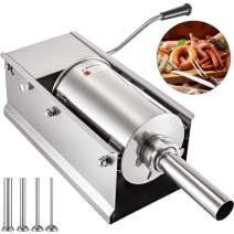 Happybuy Horizontal Sausage Stuffer 5L/11Lbs Manual Sausage Maker With 5 Filling Nozzles Sausage Stuffing Machine For Home & Commercial Use Stainless Steel