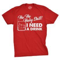 Mens Ho Ho Holy Shit I Need A Drink T Shirt Funny Santa Claus Christmas Tee Guys