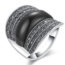 dnswez Retro Oval Black Onyx and Crystal Rings for Women Girls Oxidized Silver Big Black Onyx Stone Ring for Women