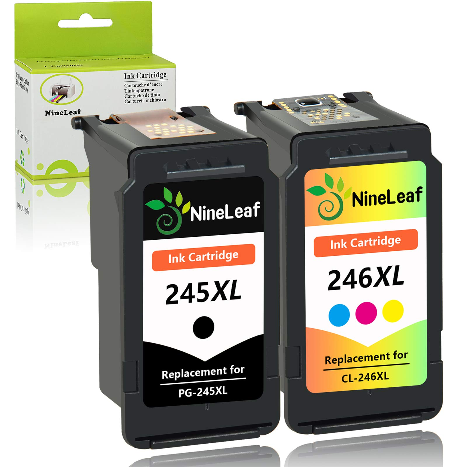 NineLeaf Remanufactured Ink Cartridge Compatible for Canon PG 245XL 246 245 XL with Ink Level Indicator PIXMA iP2820 MG2420 MG2520 2920 MG2922 MG2924 MX492 MX490 (1 Black 1 Tri-Color,2 Pack)