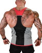 FLYFIREFLY Men's Gym Stringer Tank Tops Bodybuilding Fitness Vest Workout Top Shirts Grey