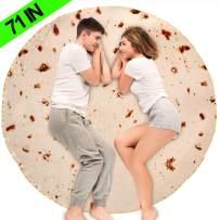 JISUSU Burritos Tortilla Blanket,Tortilla Warmer Blanket Realistic Soft Plush Comfort Round Food Blanket for Boys Girls Adults,Giant Human Taco Blanket-Diameter 71 inches …