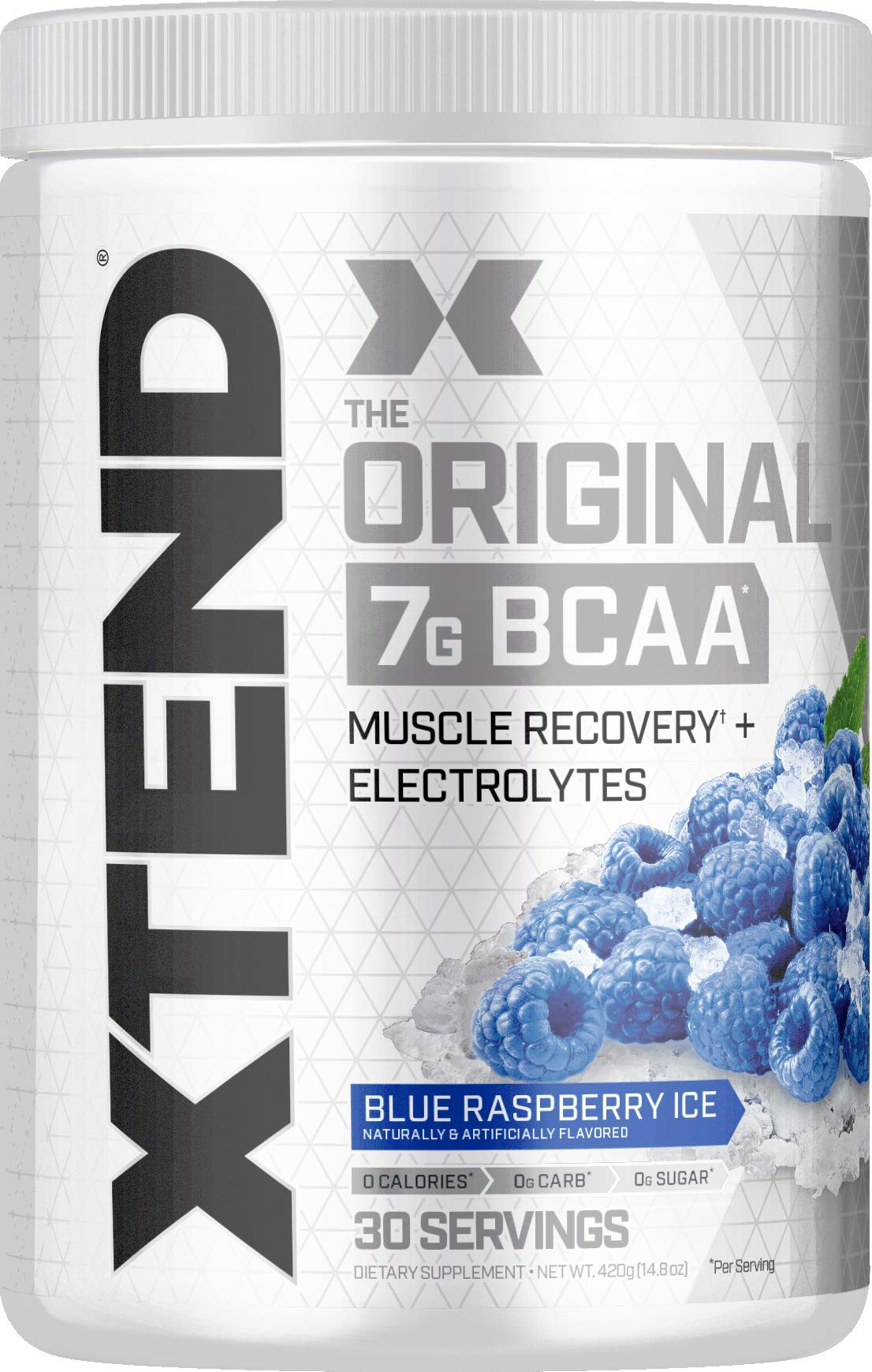 XTEND Original BCAA Powder Blue Raspberry Ice | Sugar Free Post Workout Muscle Recovery Drink with Amino Acids | 7g BCAAs for Men & Women | 30 Servings