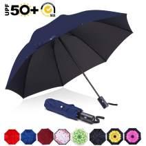ABCCANOPY Umbrella Compact Rain&Wind Teflon Repellent Umbrellas Sun Protection with Black Glue Anti UV Coating Travel Auto Folding Umbrella, Blocking UV 99.98%,navy blue
