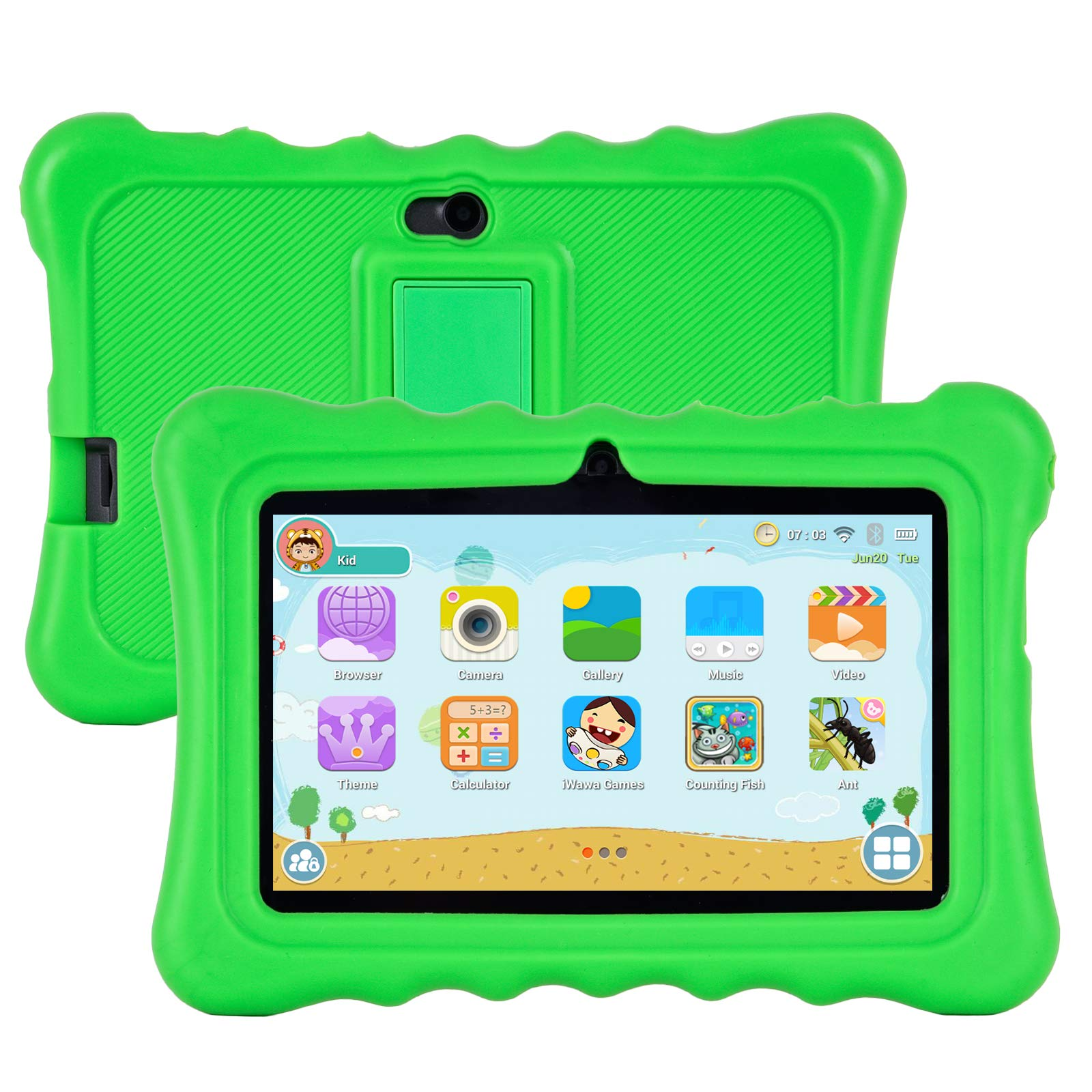 Xgody T702 7 Inch HD Kids Tablet PC for Kids Quad Core Android 8.1 1GB RAM 16GB ROM Touch Screen with WiFi Pre-Loaded 3D Game Dual Camera Green
