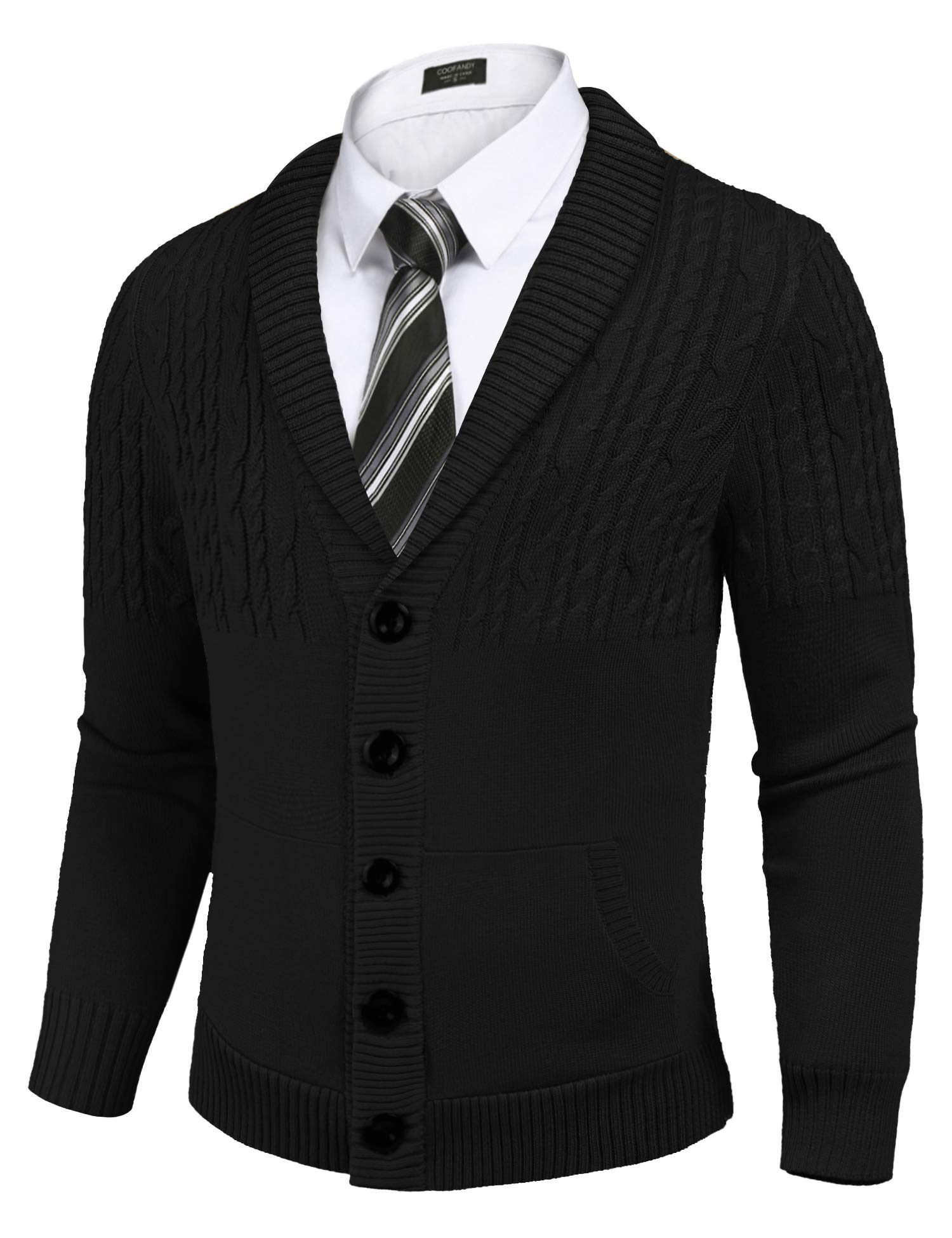 Rocorose Mens Cable Knit Cardigan Sweater Long Sleeves Contrast Color