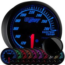 "GlowShift Elite 10 Color 280 F Water Coolant Temperature Gauge Kit - Includes Electronic Sensor - Black Dial - Tinted Lens - Peak Recall Function - for Car & Truck - 2-1/16"" 52mm"