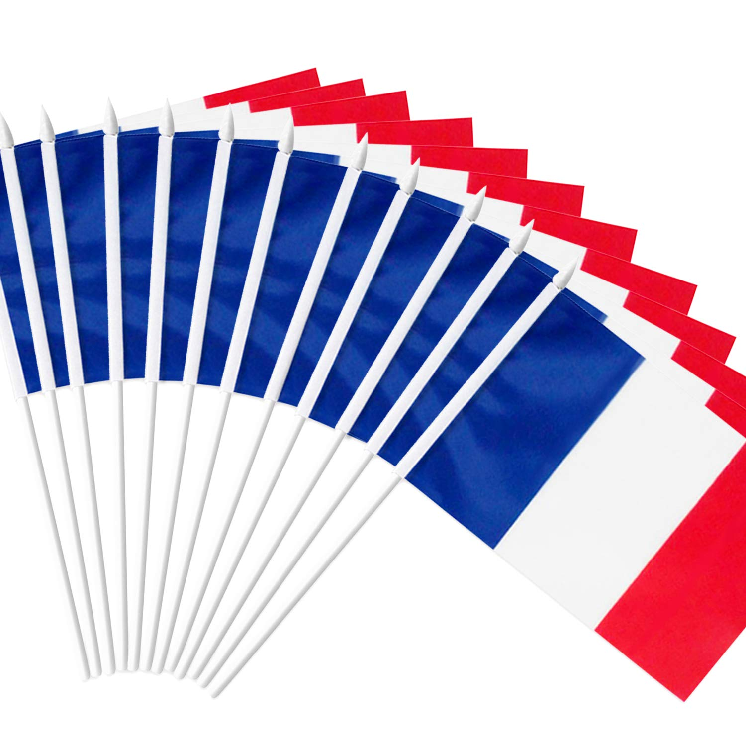 """Anley France Stick Flag, French 5x8 inch Handheld Mini Flag with 12"""" White Solid Pole - Vivid Color and Fade Resistant - 5 x 8 inch Hand Held Stick Flags with Spear Top (1 Dozen)"""