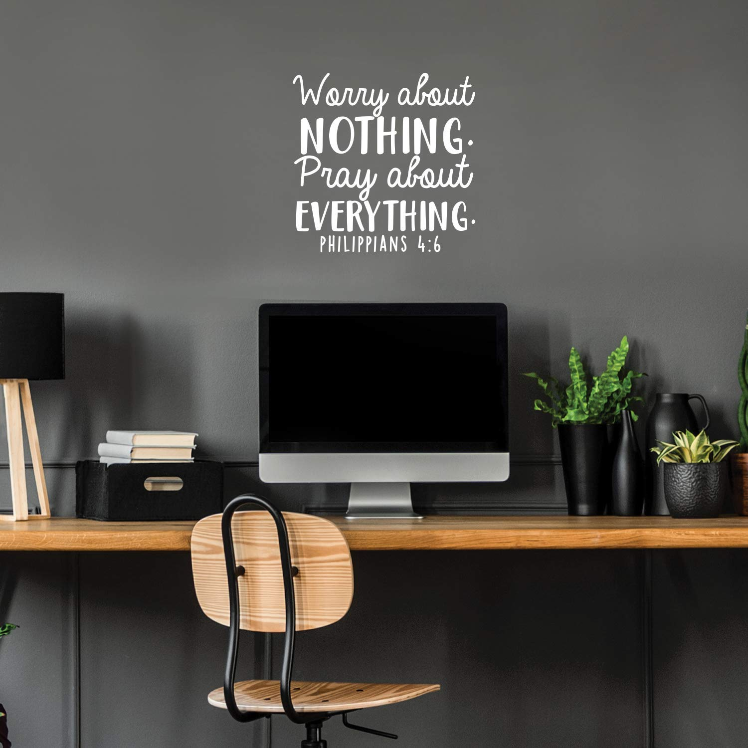 """Vinyl Wall Art Decal - Worry About Nothing Pray About Everything - 17"""" x 17"""" - Modern Inspirational Religious Bible Verse Quote for Home Bedroom Office Church Decoration Sticker (White)"""