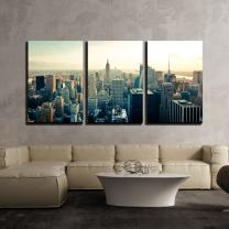 "wall26 - 3 Piece Canvas Wall Art - New York City Manhattan Midtown Aerial Panorama View with Skyscrapers at Sunrise - Modern Home Decor Stretched and Framed Ready to Hang - 24""x36""x3 Panels"