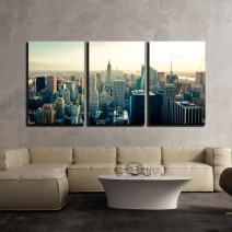 """wall26 - 3 Piece Canvas Wall Art - New York City Manhattan Midtown Aerial Panorama View with Skyscrapers at Sunrise - Modern Home Decor Stretched and Framed Ready to Hang - 24""""x36""""x3 Panels"""