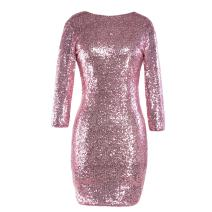 Women's 3/4 Half Sleeve Sexy Deep V Neck Shiny Sequin Cocktail Glitter Bandage Bodycon Dress Short Stretchy Sparkly Pencil Wedding Bridesmaid Club Mini Party Dress Evening Prom Clubwear Pink XL