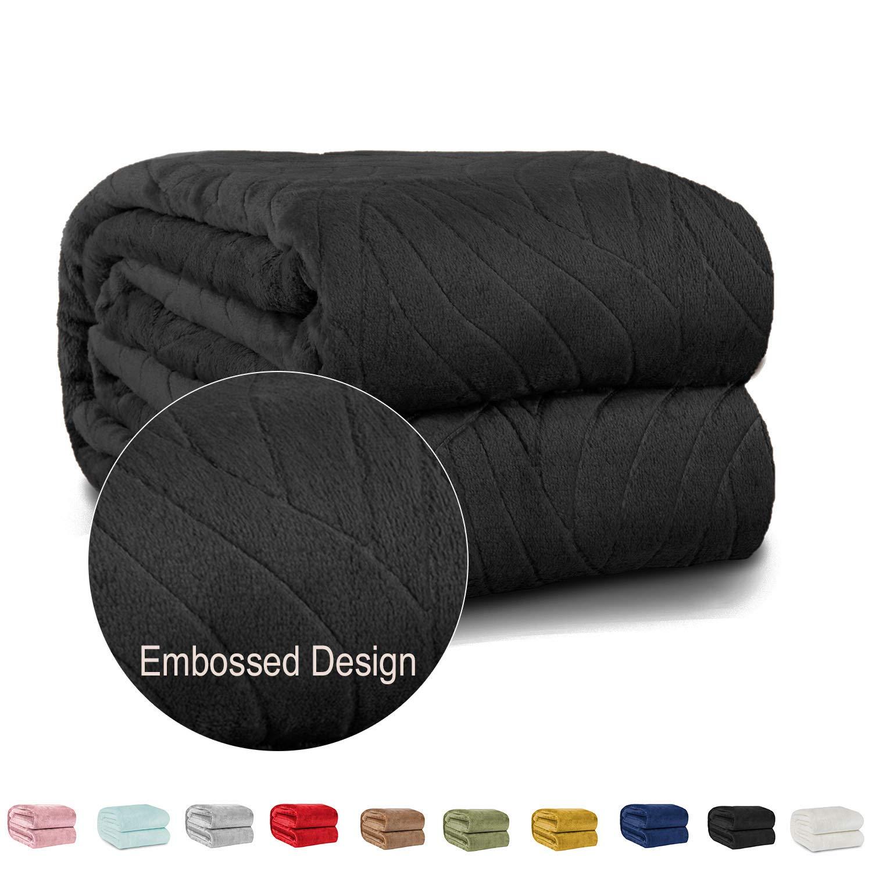 "ShopBedding Cozy Throw Blanket Fleece – Lightweight Throw Blanket for Couch or Sofa - Embossed Flannel Blanket for Travel – Black, 50"" x 60"" Soft Blanket by Blissford"