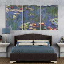 """wall26 3 Panel Canvas Wall Art - Waterlilies by Claude Monet - Giclee Print Gallery Wrap Modern Home Decor Ready to Hang - 16""""x24"""" x 3 Panels"""