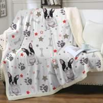 "Sleepwish French Bulldog Sherpa Fleece Blanket Twin(60""x80"") Cute Puppy Dog Couch Sofa Plush Fuzzy Blanket Grey 3D Animal Super Soft Cozy Blanket for Kids Teens Boys"