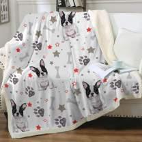 "Sleepwish French Bulldog Sherpa Fleece Blanket Throw(50""x60"") Cute Puppy Dog Couch Sofa Plush Fuzzy Blanket Grey 3D Animal Super Soft Cozy Blanket for Kids Teens Boys"