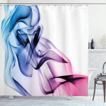 "Ambesonne Abstract Shower Curtain, Abstract Artwork with Colorful Smoke Flow Swirl Contemporary Artwork, Cloth Fabric Bathroom Decor Set with Hooks, 75"" Long, Fuchsia Blue"
