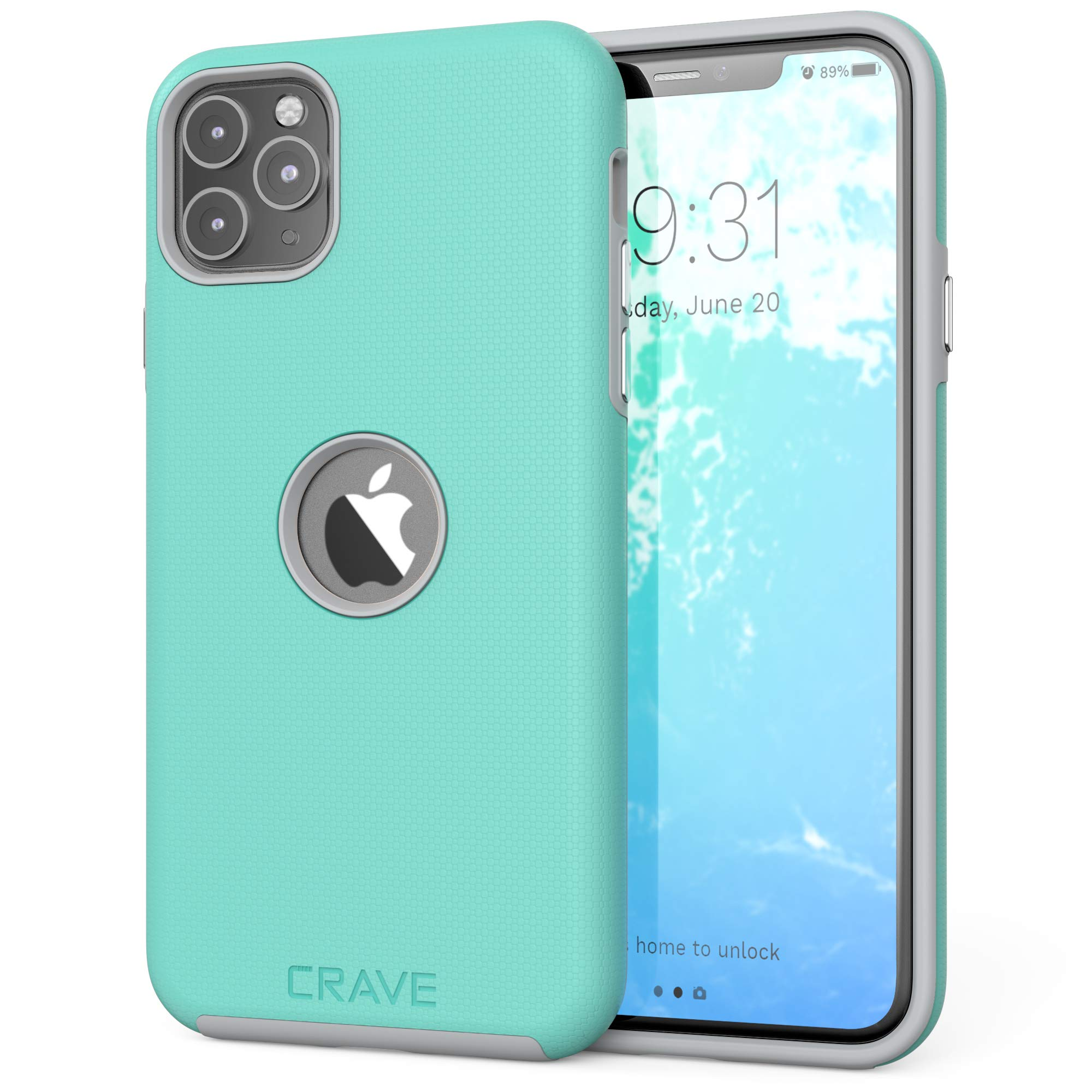 Crave iPhone 11 Pro Max Case, Dual Guard Protection Series Case for iPhone 11 Pro Max - Mint/Grey