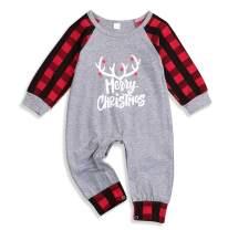 Unisex Baby Girls Boys Christmas Bodysuit Infant Baby Merry Christmas Jumpsuit Plaid Onesies Pajamas