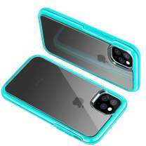 DUDETOP iPhone 11 Case, Hard Tough Cover, Shock Protection, Clear Anti-Slippery Anti-Scratches Cover Shockproof Bumper Case for iPhone 11 6.1'' inch (Turquoise)