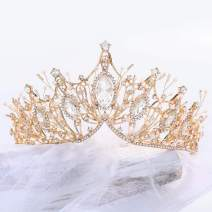 Unicra Gold Baroque Crowns and Tiaras Costume Rhinestones Wedding Queen Crown Princess Bridal Tiaras Hair Accessories for Women and Girls (Gold)