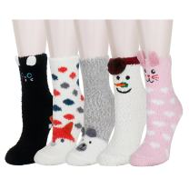 Zmart Women Girls Fun Fuzzy Colorful Indoors Warm Slipper Socks, Cute Animal