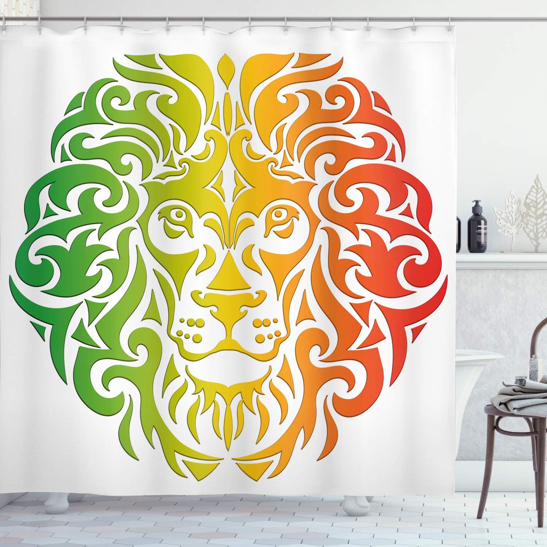 "Ambesonne Rasta Shower Curtain, Lion Portrait in Vivid Colors Portrait Head King of Jungle Image, Cloth Fabric Bathroom Decor Set with Hooks, 70"" Long, Fern Green"