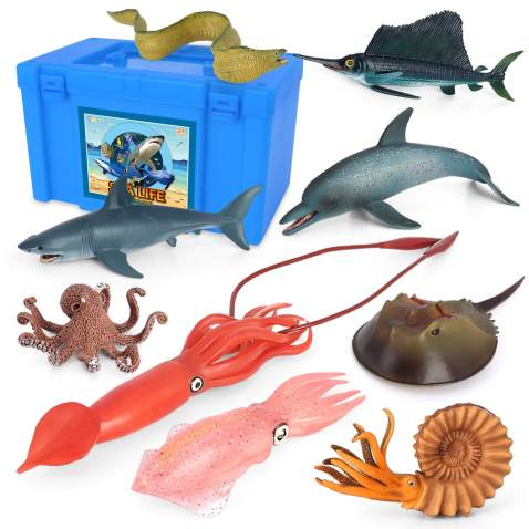 Volnau Sea Creature Toys 9PCS Pacific Ocean Sea Animal Figurines Shark Toys for Toddlers Kids Christmas Birthday Gift Plastic Fish Toys Preschool Pack and Bath Dolphin Sets