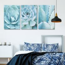 """wall26-3 Panel Canvas Wall Art - Closeup of Blue Succulent Plants - Giclee Print Gallery Wrap Modern Home Decor Ready to Hang - 16""""x24"""" x 3 Panels"""