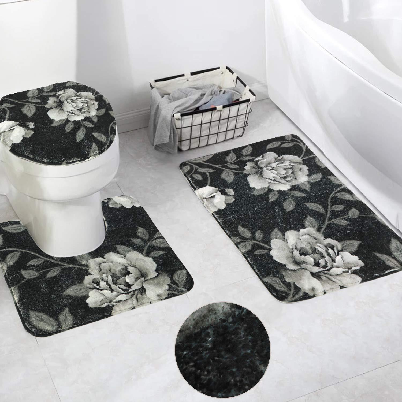 HAOCOO Dark Peony Bath Rug 3 Piece Velveteen Bathroom Rugs Set,20 x 20 U-Shape Contoured Toilet Mat & 20 X 31 Rug & 1 Lid Cover,Soft Microfiber Non-Slip Machine-Washable Floor Rug for Tub Shower