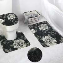 HAOCOO Dark Peony Bath Rug 3 Piece Velveteen Bathroom Rugs Set,20 x 20 U-Shape Contoured Toilet Mat & 20 X 31 Rug & 1 Lid Cover,Soft Microfiber Non-Slip Machine-Washable Floor Rug for Tub Shower