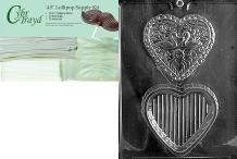 """Cybrtrayd""""Swan Heart Pour Box"""" Wedding Chocolate Candy Mold with Packaging Bundle, Includes 25 Cello Bags and 25 White Twist Ties"""