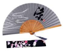 Amajiji Folding Hand Rave Fan for Women/Men, Chinease/Japanese Bamboo Fan Folding Hand Fan, Hand Fan Festival Fan Gift Fan Craft Fan Folding Fan Dance Fan (Gray)