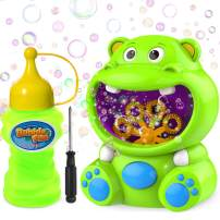 WisToyz Bubble Machine Hippo Bubble Blower Portable Bubble Toys with Bubble Solution Bubble Machine for Kids Toddlers Bubble Maker 500+ Bubbles Per Minute, Outdoor Easy to Use 2 x AA Batteries Needed
