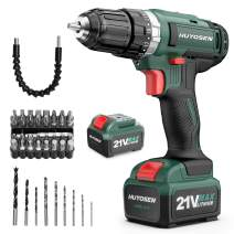 HUYOSEN Cordless Drill Driver 21V MAX 2.1Ah Electric Screwdriver 23+1+1+1 Torque Setting Cordless Drill Variable Speed Kit 29Nm with Li-ion Battery Power Drills Sets