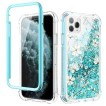 Caka iPhone 11 Pro Case, iPhone 11 Pro Glitter Liquid Case Floral Full Body with Built in Screen Protector Bling Girls Girly Women Flower Protective Case for iPhone 11 Pro (Light Blue)