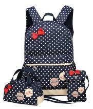 JiaYou Girls Cute Lunch Bag Purse/Pencil Bag School Backpack 3 Sets(13.5L,Dark Blue)
