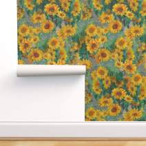 Spoonflower Pre-Pasted Removable Wallpaper, Sunflowers Floral Summer Painting Sunflower Flowers Print, Water-Activated Wallpaper, 24in x 36in Roll